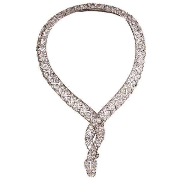 Impressive Retro Diamond Serpent Necklace