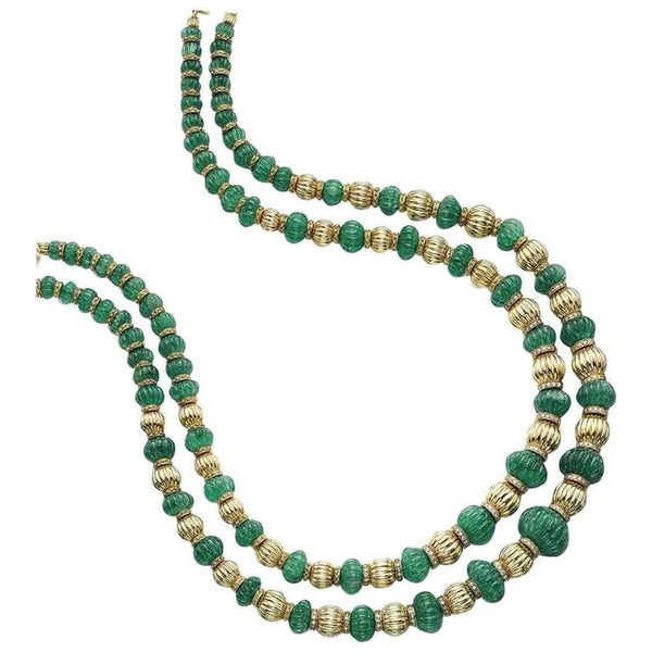 1970s Meister Emerald Beads and Gold Rondelles Necklace