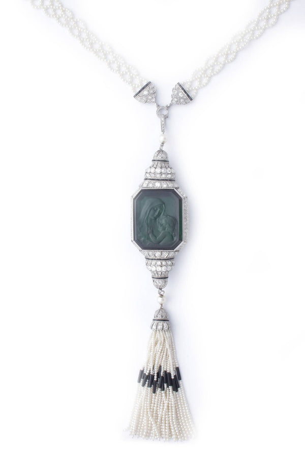 Art Deco Carved Tourmaline Natural Pearl Onyx Diamond Sautoir Necklace
