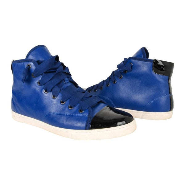 Lanvin Shoe Blue and Black Leather Lace Up Sneaker 39 / 9