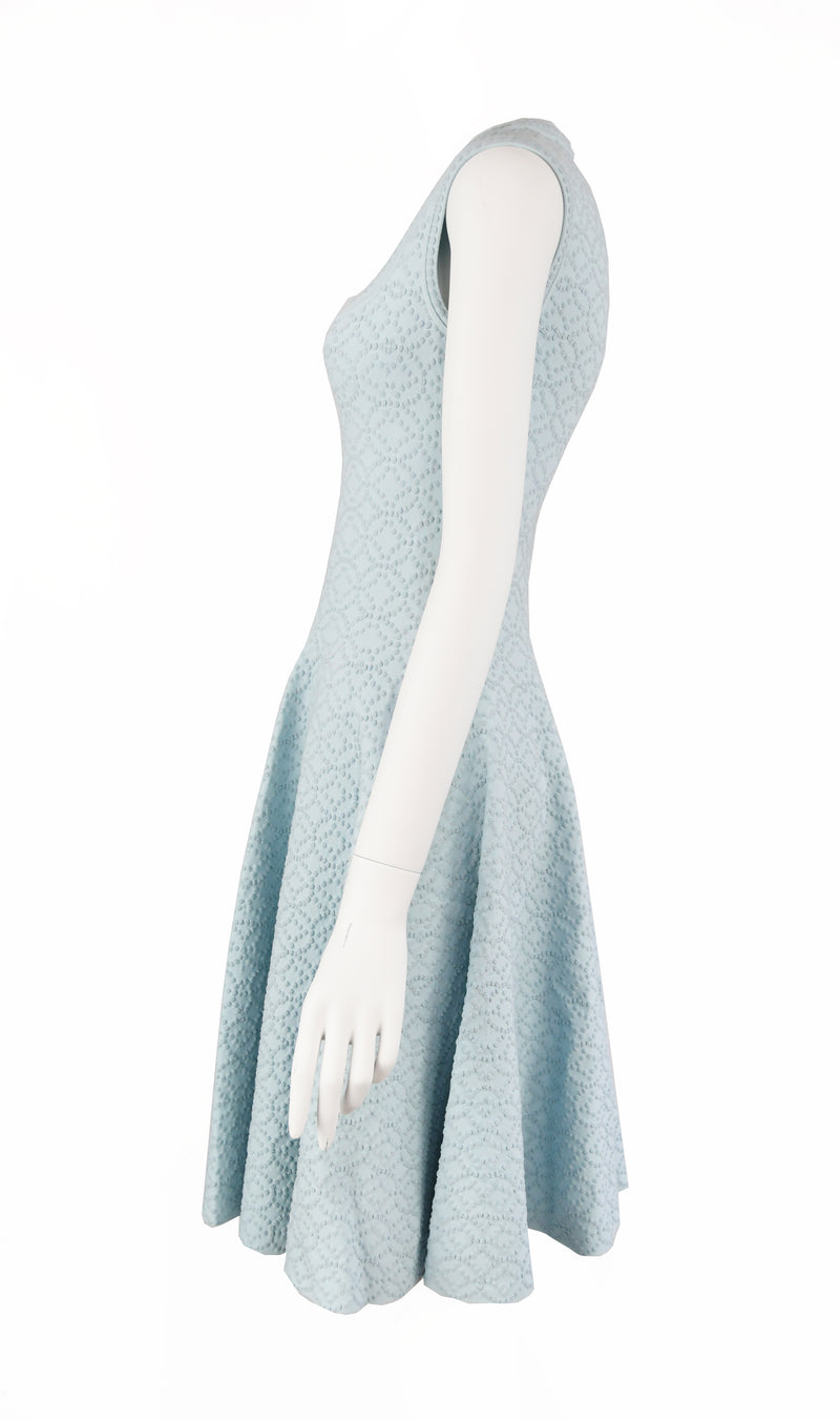 Alaia Light Blue Cap Sleeve Fit & Flare Dress