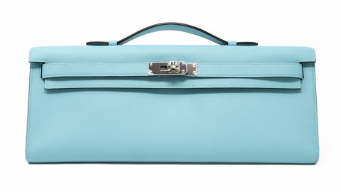 Hermes Light Blue Atoll Kelly Clutch with Palladium Hardware