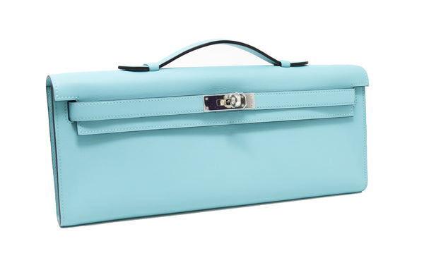 Hermes Kelly Cut Blue Atoll Kelly Clutch Swift PHW