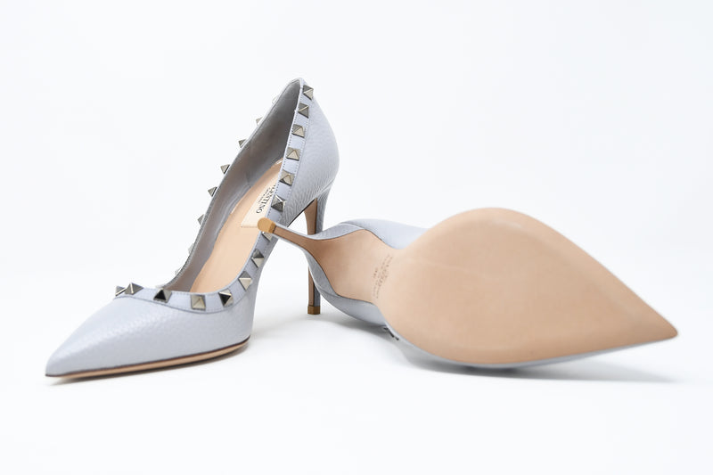 Valentino Rock Stud Light Blue Pebbled Leather Pumps