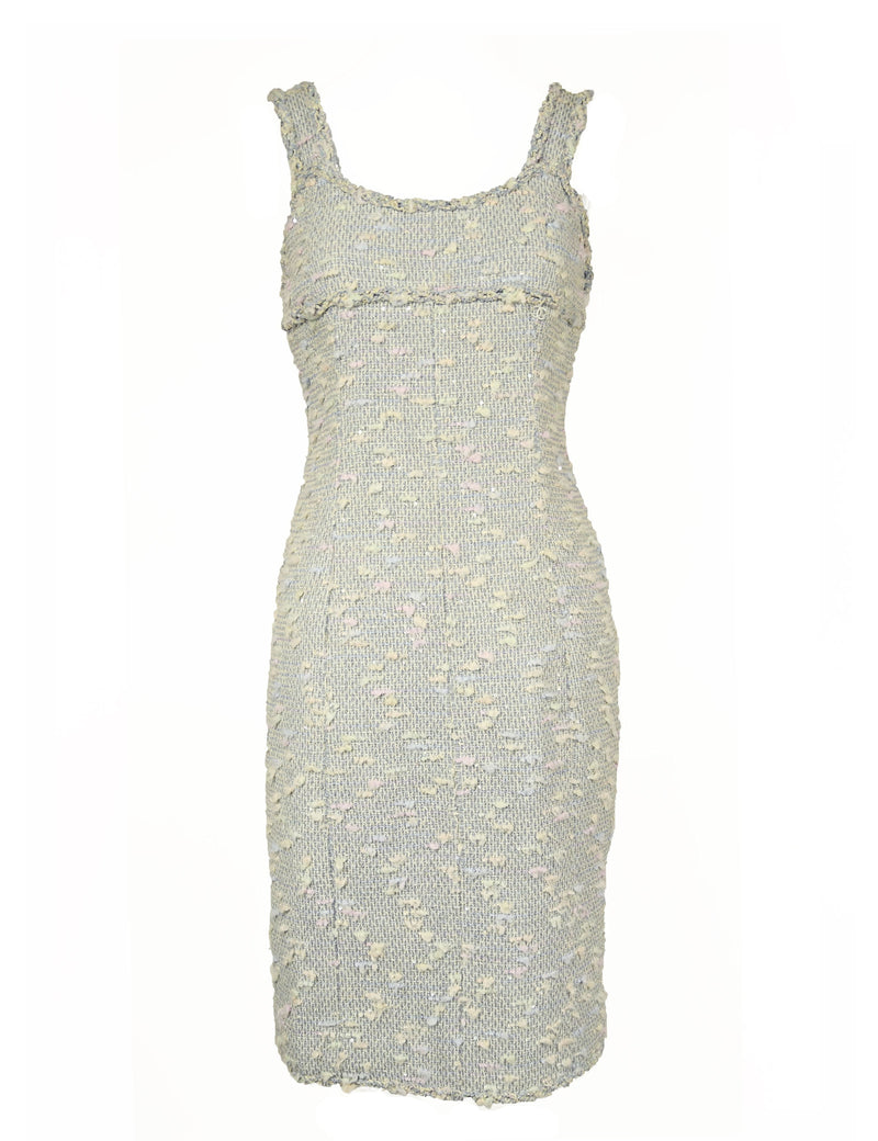 Chanel Light Blue Pastel Tweed Dress
