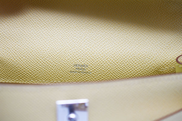 Hermes Kelly Pochette 22cm Light Yellow with Palladium Hardware