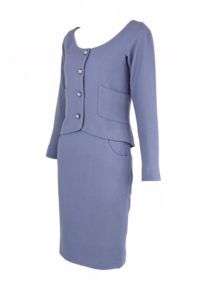 Vintage Chanel Lilac/Gray Suit with Rhinestone Buttons