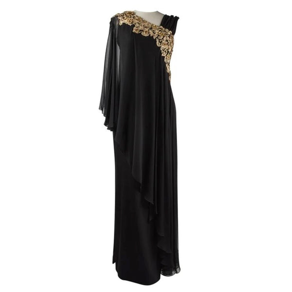 Marchesa Dress Black Gown Gold Embroidery Jewels 8
