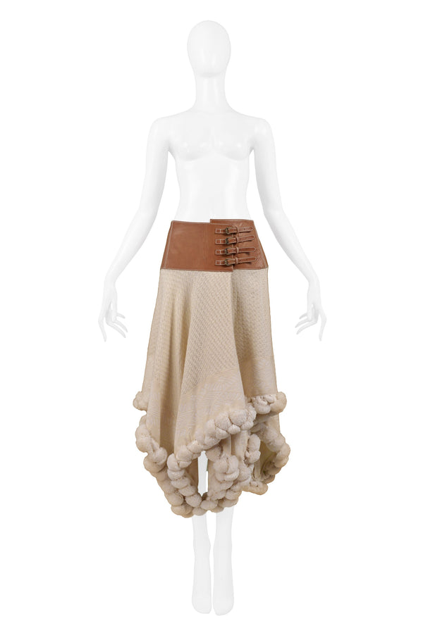 ALEXANDER MCQUEEN CREAM WOOL SKIRT 2003