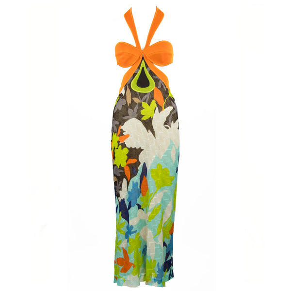 Missoni Orange, Blue & Green Multicolor Halter Dress