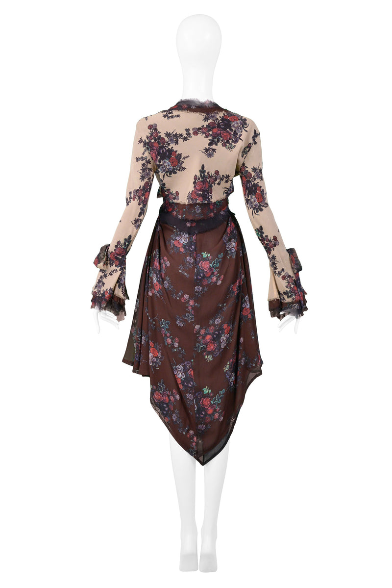 MOSCHINO FLORAL CROP TOP & SCARF SKIRT ENSEMBLE