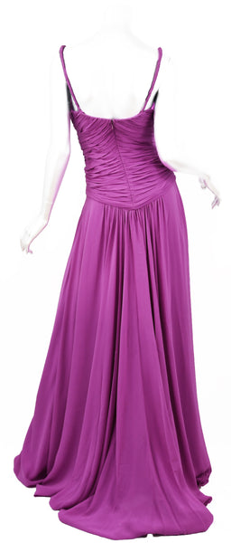 Emanuel Ungaro Long Chiffon Gown in Magenta - Size 4
