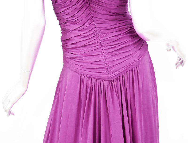 Emanuel Ungaro Long Chiffon Gown in Magenta