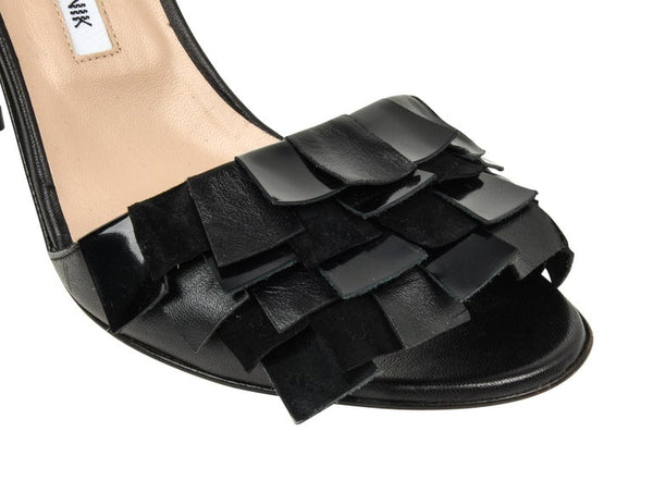 Manolo Blahnik Shoe Fringed Ankle Strap Black Sandal 41 / 11 New