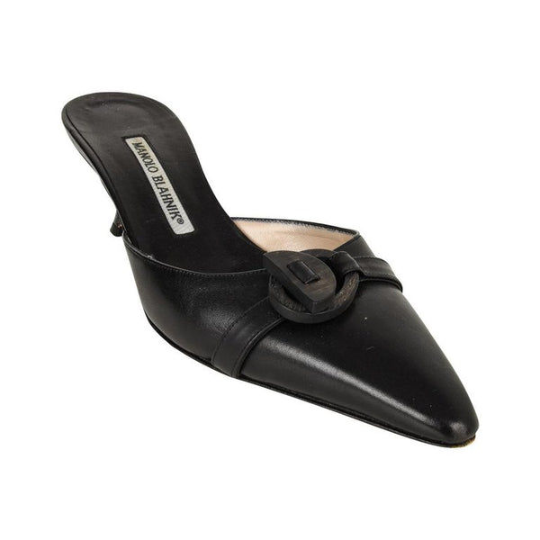 Manolo Blahnik Shoe Mule Abstract Wood Buckle 36.5 / 6.5