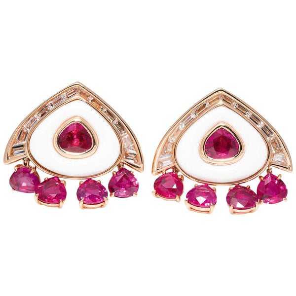 Marina B Ruby Diamond Cocholong White Opal Earclips