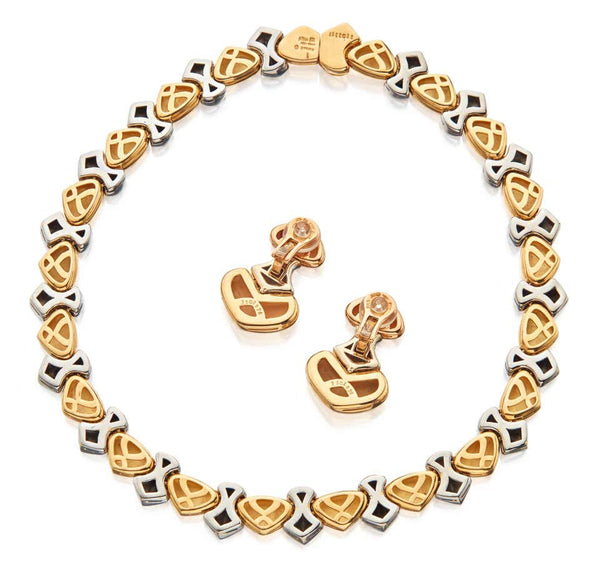 Marina B Two Color Gold Ciao Heart Necklace Earrings Set