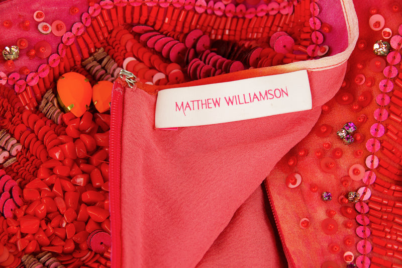 Matthew Williamson Coral Embellished Dress 15th Anniversary Celebration