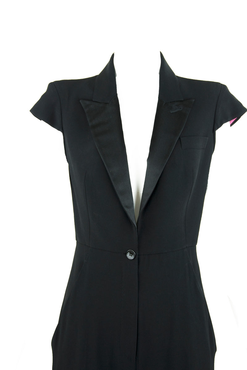 Alexander McQueen Black Jumpsuit with Satin Lapel