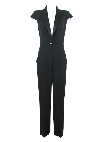 Alexander McQueen Black Jumpsuit with Satin Lapel - Size IT 42