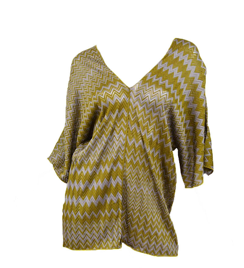 Missoni Olive Green and Grey Zigzag Knit Tunic