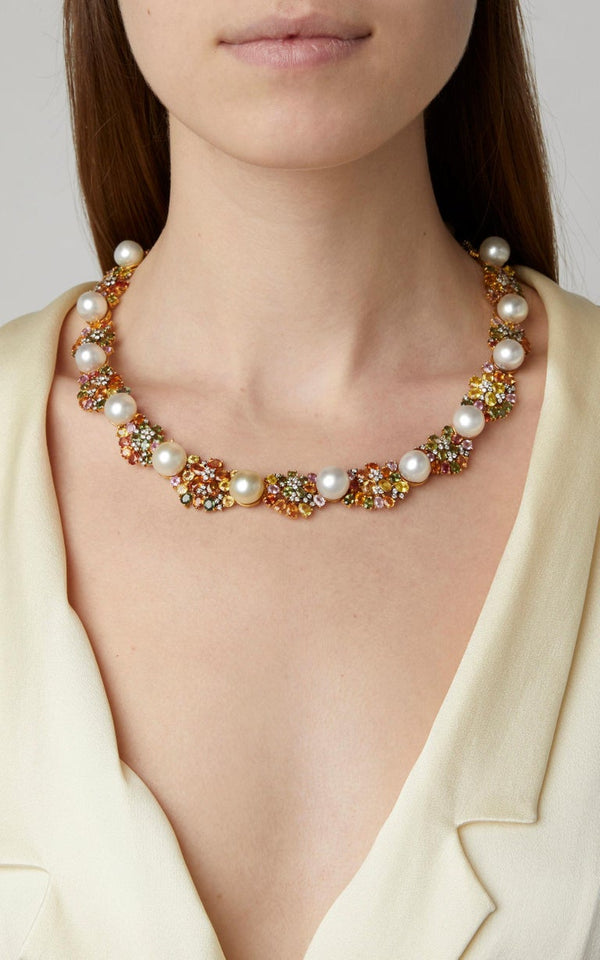Multi-Color Sapphires Pearls Gold Necklace