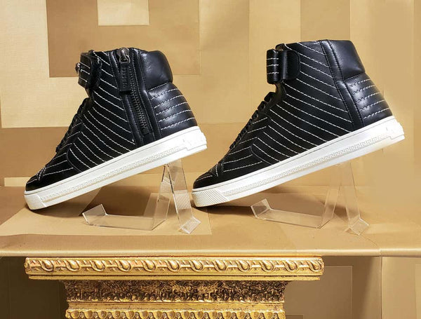 NEW VERSACE STUDDED HIGH-TOP SNEAKERS with SILVER MEDUSA side ZIPPER
