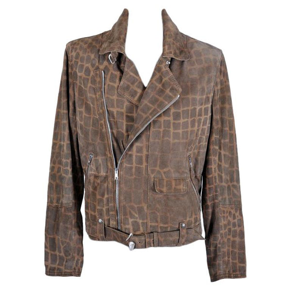 NEW ROBERTO CAVALLI ANIMAL PRINT LEATHER BIKER JACKET for MEN