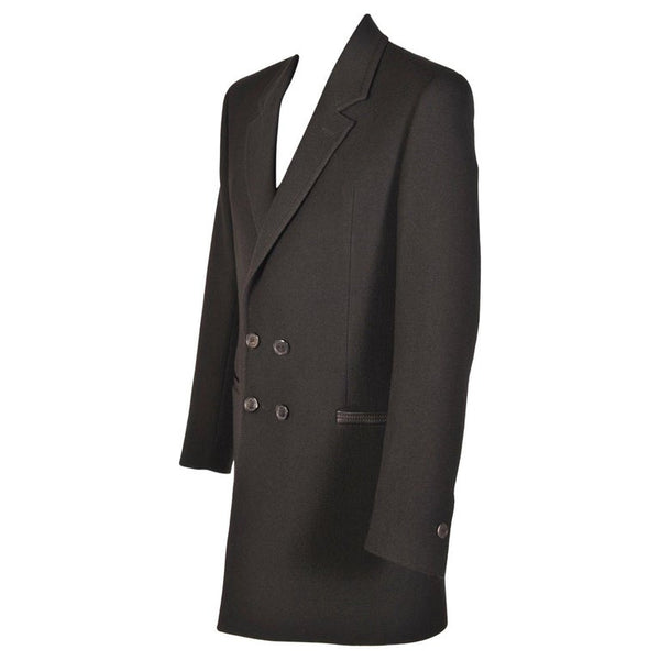 NEW VERSACE BLACK WOOL COAT with LEATHER TRIM for MEN