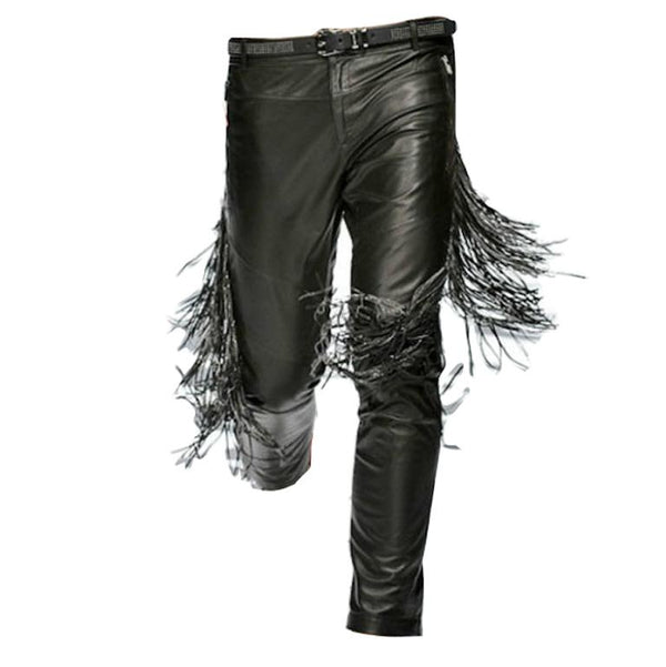 NEW VERSACE FRINGED BLACK LEATHER PANTS for MEN