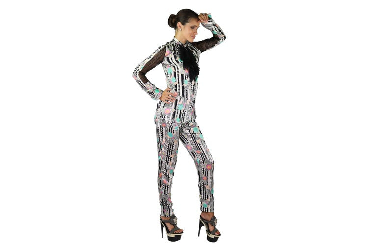 NEW VERSACE PRINTED SILK and LACE PANT SUIT