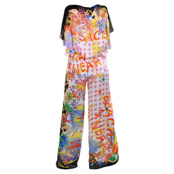 NEW VERSACE SEASHELL and GRAFFITI PRINT 100% SILK PANT SUIT