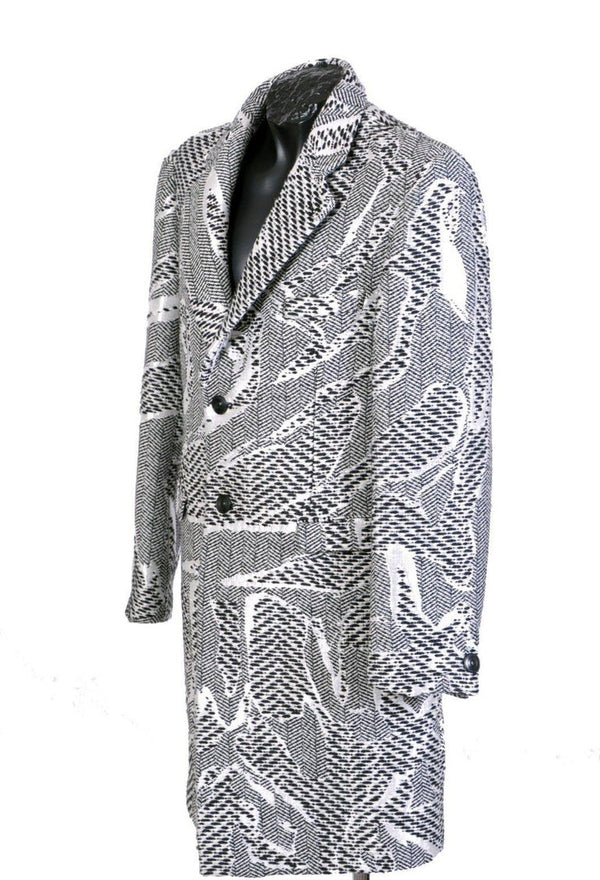 NEW VERSACE WHITE BLACK ALPACA COAT for MEN