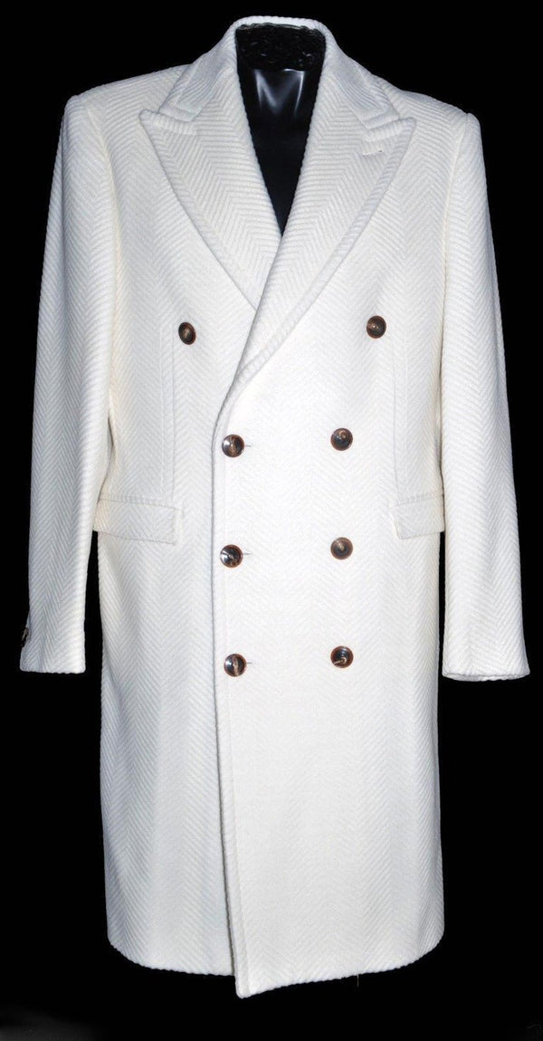 NEW VERSACE WHITE HERRINGBONE WOOL ANGORA COAT for MEN