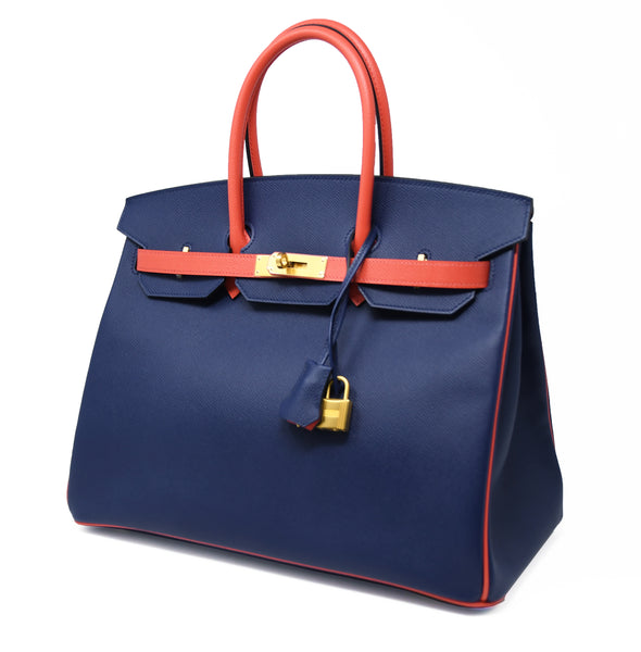 Hermes Birkin Bag 35cm HSS Bi Color Navy and Salmon