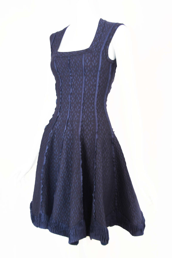 Vintage Alaia Navy Fit & Flare Dress