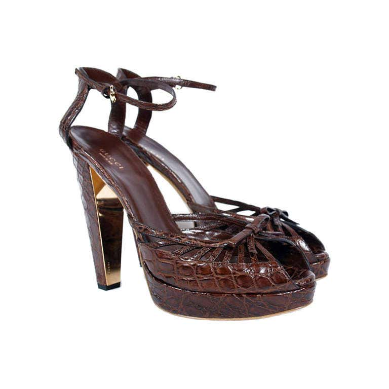 New GUCCI BROWN CROCODILE PLATFORM SHOES 10.5