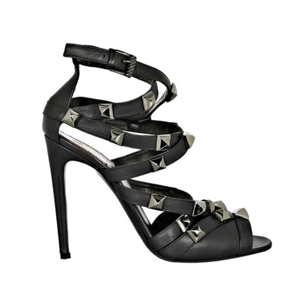New ROBERTO CAVALLI BLACK STUDDED SANDALS 8