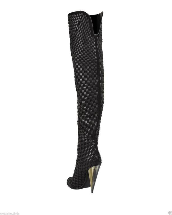 New TOM FORD Black Woven Suede/Leather Over-the-Knee Boot