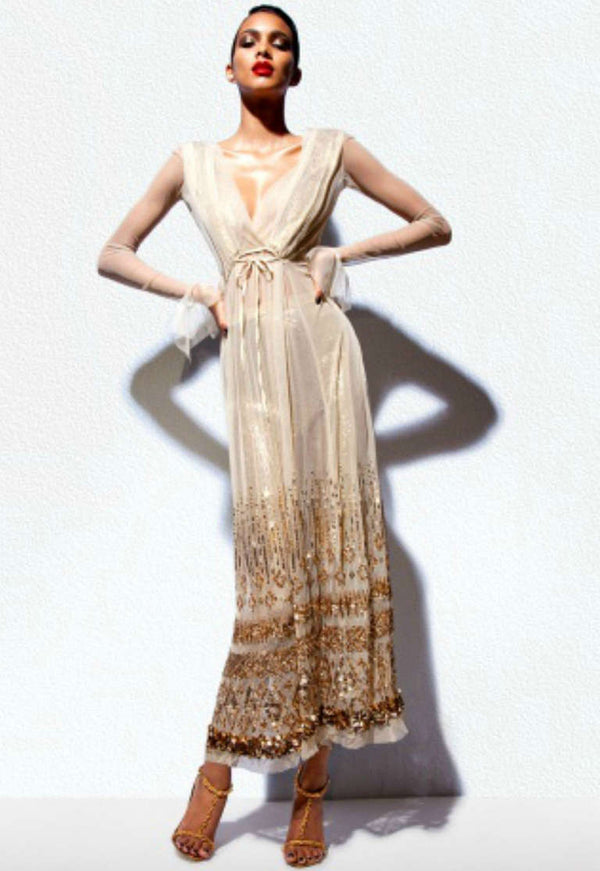 New TOM FORD NUDE EMBELLISHED CHIFFON DRESS with GOLD SEQUIN PANTS