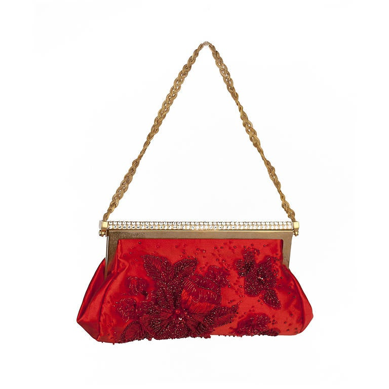 New VALENTINO RED BEADED EVENING CLUTCH