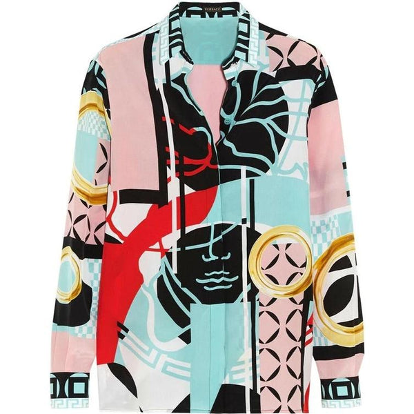 New VERSACE 100% Silk Abstract print Shirt