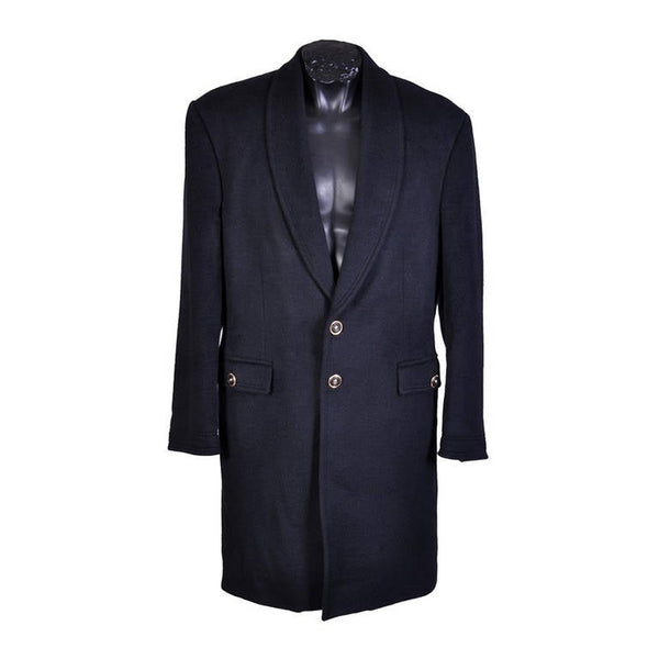 New VERSACE BLACK ANGORA CASHMERE WOOL MEN'S COAT