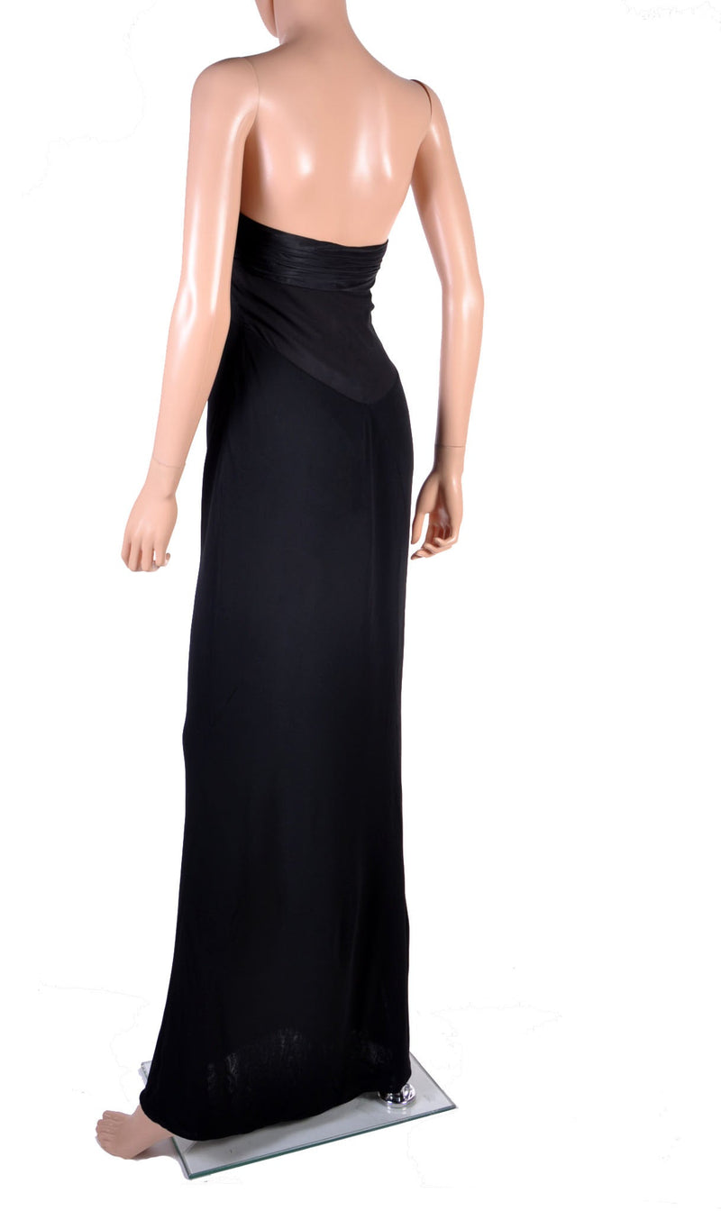 New VERSACE BLACK STRAPLESS DRESS GOWN