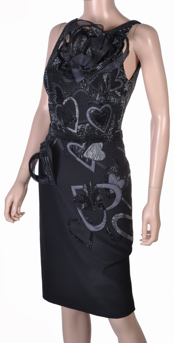 New VERSACE CRYSTAL EMBELLISHED 'QUEEN OF HEARTS' DRESS