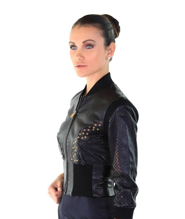 New VERSACE Cropped Black Leather Jacket