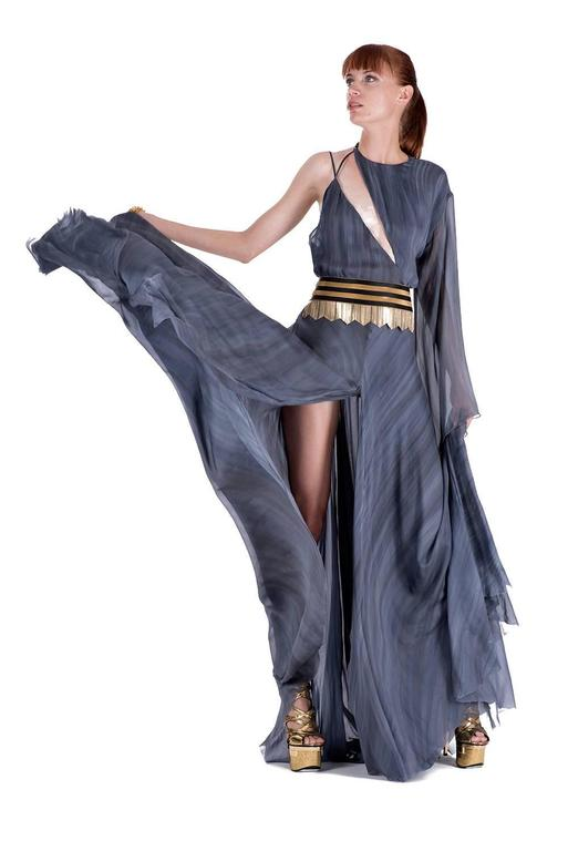 New VERSACE DOVE GREY GOWN with METAL FRINGE BELT