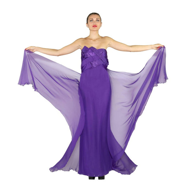 New VERSACE EMBELLISHED PURPLE SILK LONG GOWN