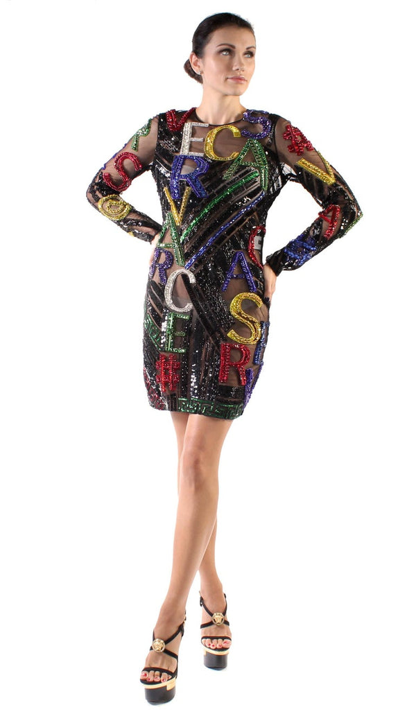 New VERSACE EMBELLISHED TULLE MINI DRESS
