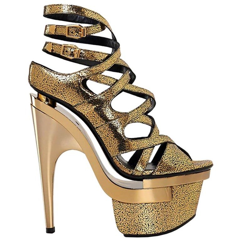 New VERSACE Gold Leather Triple Platform Sandals